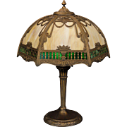 Lovely Large Victorian Balcony Scene Double Slag Glass Lamp