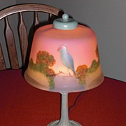 "REDUCED Small lamp with reverse painted shade with Parrot  ca ""1930"""