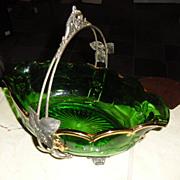 SALE Brides Basket Northwood Bowl and Rogers Silverplate Frame