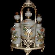 SALE 3 Bottle/Jar Vanity Cologne Powder Set with Rockford Silverplate Frame