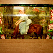 Lovely 1890's Celluloid & Velvet Dresser Box Girl & Horse