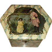 Celluloid Collar Box circa 1890's featuring Little Girl Jumping Rope