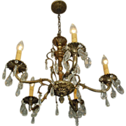 Circa 1940's Tree Branch 5 Arm Chandelier with Prisms