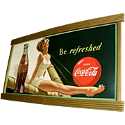 1949 Coca Cola Cardboard Sign with Wood Coke Frame