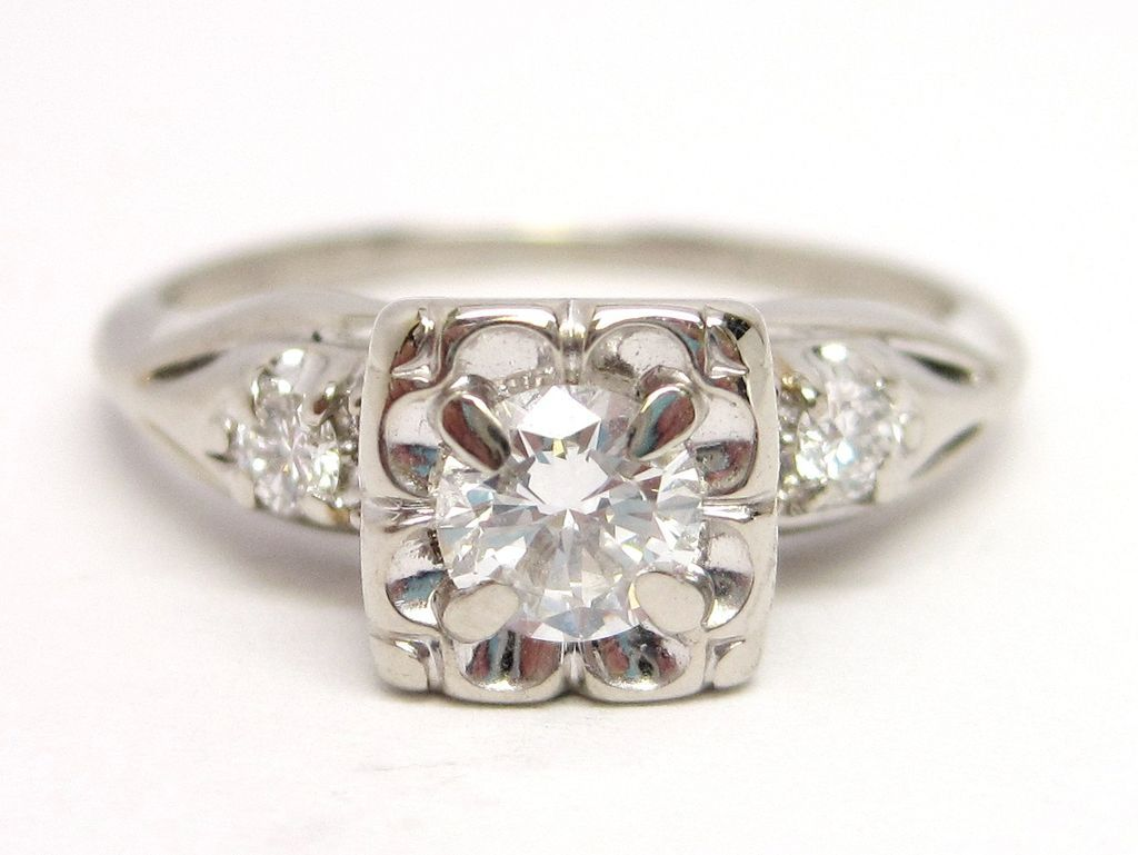 Vintage Diamond 14k White Gold Engagement Ring 1 2 Cttw