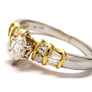 Two Tone Platinum + 18K Gold Diamond Engagement Ring