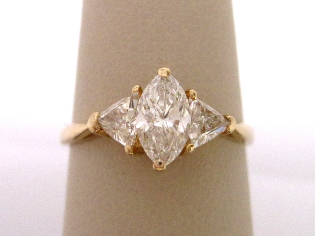 Marquise And Trillion Diamond Engagement Ring From