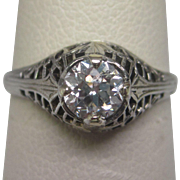 1920's Old European Cut 0.53 ct. Diamond Ring with GIA Report