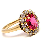 Victorian 18K Pink Red Spinel Ring w/ Diamonds