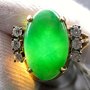 Vintage Jadeite Jade and Diamond Ring