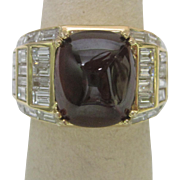 3 ct. Garnet and Diamond Ring in 18K Yellow Gold