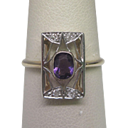 Circa 1910 Edwardian Amethyst and Old Mine Cut Diamond Ring in Platinum Over Gold