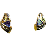 Tanzanite and Diamond 14K Yellow Gold Earrings
