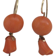 1880 Victorian Natural Coral Earrings in 14K Yellow Gold