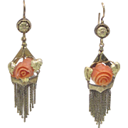 Victorian Coral Rosette and 14K Gold Dangle Earrings