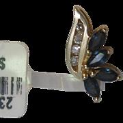 Bird-of-Paradise Sapphire and Diamond Pendant in 14K Yellow Gold