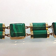 Antique Imperial Russian 14K Gold Malachite Bracelet dated 1847