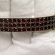 Victorian Garnet Hinged Bangle Bracelet