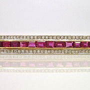 Art Deco Platinum 14K Ruby Diamond Bar Pin Brooch