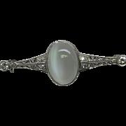 Edwardian Diamond Moonstone Platinum Filigree Brooch