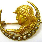 Art Nouveau Newark 14K Pearl Crescent Pin