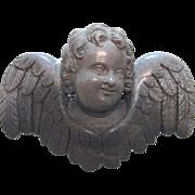 Victorian Carved Lava Cherub Pin Brooch