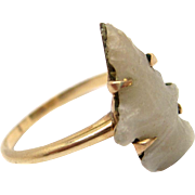 Victorian 14K Gold Carved Stone Arrowhead Ring