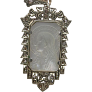 Virgin Mary Carved Mother of Pearl Diamond Pendant in 14K Yellow Gold