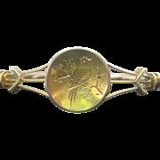 Victorian 14K Rose and Yellow Gold Hinged Bird Bangle Bracelet
