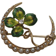 Art Nouveau Diamond & Pearl Enameled Clover Honeymoon Brooch in 14K Yellow Gold