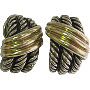 David Yurman Huggie Earrings in Sterling Silver and 14K Yellow Gold