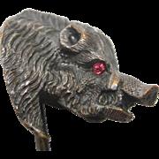 Victorian Silver Plate Boar Stick Pin with Garnet Eyes