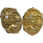 Art Nouveau Diamond Cufflinks in 10K Yellow Gold