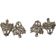 Sterling Silver Grotesque Face Cufflinks signed Peruzzi 9 grams