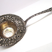 Rare Early STIEFF Sterling Silver Repousse Tea Strainer
