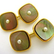 Art Deco 14K Pearl Mother of Pearl Cufflinks