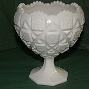 REDUCED Westmoreland Milk Glass Old Quilt Footed Bowl