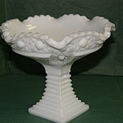 SOLD Vintage Milk Glass Footed Dish or Trivet with Daisy Button pattern
