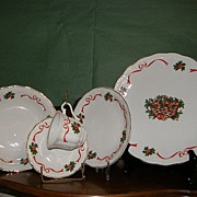 "Vintage Christmas China made in Poland by Baum ""Holiday Ribbon"""