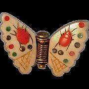 SALE PENDING Japanese Shibayama Ox Bone Inlaid Butterfly Pinch Brooch