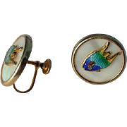 Vintage Mother of Pearl & Colorful Enamel Fish Screw Back Earrings BMCo