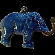 Vintage Czech Glass Elephant Charm with BRASS Trunk