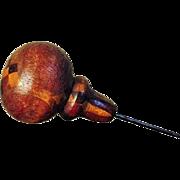 SALE Rare Tunbridge Ware Wood Inlay Mosaic Hat Pin