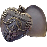SALE Antique Silver Plate Angel Slide Heart Locket Valentine