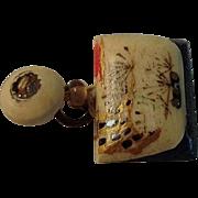 SALE Japanese Ox Bone Inro Netsuke Bag Charm Opens to Dice