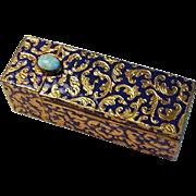 Rare Rolando Lucchesi Lipstick Case, Gilt Enamel & Turquoise