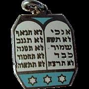 Vintage Turquoise Enamel Sterling Ten Commandments Charm