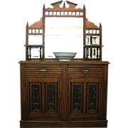 REDUCED Antique Sideboard, Victorian Carved Mirror Back, server, buffet. English C.1880.