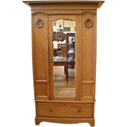 REDUCED Antique Wardrobe, Armoire, English Oak Victorian Mirrored.