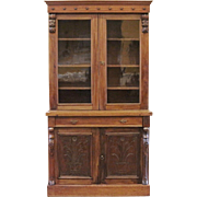 Antique English Victorian Bookcase, Carved Mahogany.
